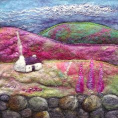 Felt and Fibre art, Textile Jewellery and Gifts. Handmade in Scotland Felt Pictures, Fabric Pictures, Shibori, Wet Felting Projects, Felt Projects, Needle Felting Kits, Felt Embroidery, Wool Art, Landscape Quilts