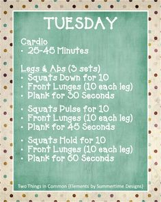 Two Things in Common: Monday - Friday Workout Plan