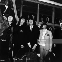 2nd September 1965. The Beatles arrive at London Airport on their way back from USA where they have been on tour.