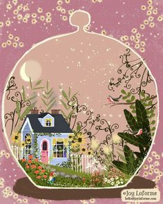 Blue Cottage Terrarium folk art illustration by Joy Laforme Guache, Poster S, Naive Art, Whimsical Art, Cute Illustration, Belle Photo, Art Inspo, Folk Art, Concept Art