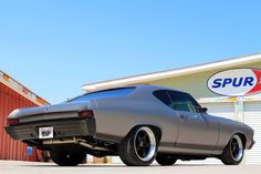 1968 Chevrolet Chevelle. Matte Gray with a Black Stripe Down the side. grey black painted bumpers