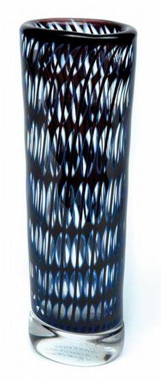 Orrefors blue Ariel glass vase by Lindstrum, Scandinavian