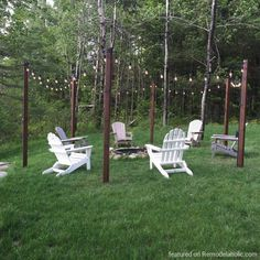 Easy DIY Outdoor Lighting Around a Fire Pit | Remodelaholic | Bloglovin'