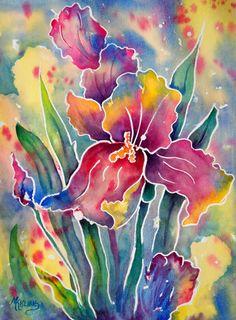 Stained Glass Watercolor of Iris - Martha Kisling Original Art Fabric Painting, Watercolour Painting, Watercolor Flowers, Watercolors, Iris Painting, Pebeo Vitrail, Caran D'ache, Batik Art, Watercolor Projects