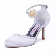 """Style No.B130007,Dyeable Attractive 3"""" Hand Made Flower Almond Toe D'Orsay - White Satin Wedding Shoes (11 colors),"""