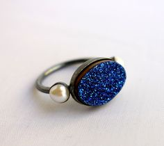 Midnight Blue Druzy Ring with Pearls. $152.00, via Etsy.