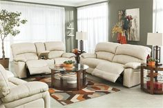 Damacio Cream Leather Living Room Set