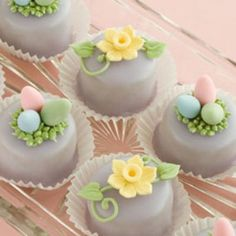 Petit Fours with Easter gum paste decoration