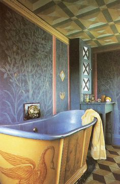 tromp l'oeil bathtub and painted walls & ceiling