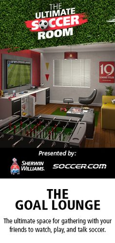 The Ultimate Soccer Room Promotion  Ends August 2014  limit one entry per person.   Win THE ULTIMATE SOCCER ROOM  hUGE PRIZES