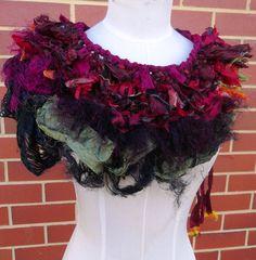 Tattered Deep Red Recycled Sari Silk Collar Scarf via Plumfish.