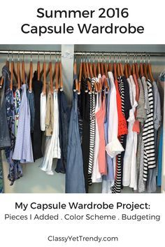 My Summer 2016 Capsule Wardrobe Project: See everything which includes a tee, striped top, white shirt, cardigan, jeans, skirt, dress, chambray, scarf and a boater hat.
