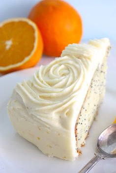 Orange & poppy seed cake with oh so yummy cream cheese frosting with orange rind | Megann's Kitchen
