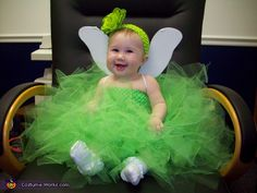 Easy homemade costumes for baby's first Halloween. All the creative costume ideas for babies from our online Halloween costume contest. Tinkerbell Halloween Costume, Halloween Costumes Online, Halloween Costume Contest, Cute Costumes, Baby Costumes, Costume Ideas, Tinkerbell Outfit, Clever Costumes, Tinkerbell Party