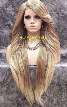 Details about Human Hair Blend Hand Tied Monofilament Lace Front Full Wig Medium Blonde Mix 38 Blonde Hair Care, Bleach Blonde Hair, Dyed Blonde Hair, Hair Dye, Full Lace Front Wigs, Blonde Lace Front Wigs, Front Lace, My Hairstyle, Wig Hairstyles