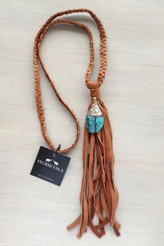 Tibetan Turquoise Leather Braided Tassel