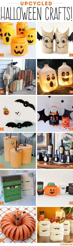 Upcycled Halloween crafts and decor #upcycle #halloween #upcycling
