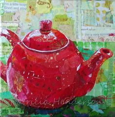 Red Teapot Original Torn Paper Collage tea art on gallery wrapped canvas Paper Collage Art, Paper Art, Cut Paper, Paper Crafts, Painted Paper, Hand Painted, Red Teapot, Collage Portrait, Fabric Pictures