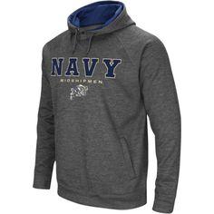 Colosseum Men's Navy Midshipmen Grey Fleece Hoodie, Size: Medium, Blue