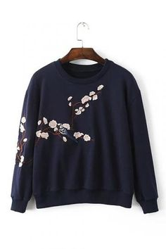 Dark Blue Pullover Random Floral Embroidery Pattern Sweatshirt - US$25.95 -YOINS