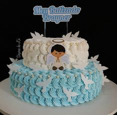No photo description available. Christian Cakes, Religious Cakes, Mom Cake, Small Cake, Gorgeous Cakes, Cake Decorating Tips, Cakes For Boys, Girl Cakes, Baby Shower Cakes