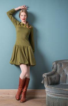 Ballonkleid aus Jersey in olivgrün // Jersey-dress by Peppermint-Patty via DaWanda.com