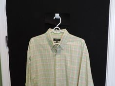 Bobby Jones Designer Big Man Colorful Geen Plaid Shirt 2XL Mint Woven in Italy #BobbyJones #ButtonFront