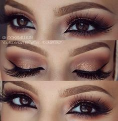 gold and warm neutrals smoky eye