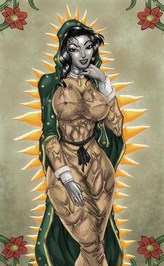 Siempre he dicho que a la Vírgen de Guadalupe la representan como una mujer simplona, tons me aventé mi versión pero me pasé de hereje...