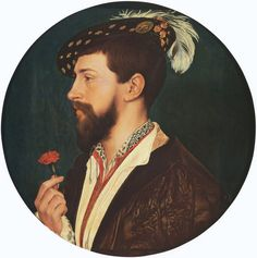 Portrait of Simon George of Cornwall by Hans Holbein the Younger (circa 1535-1540) Städelsches Kunstinstitut, Frankfurt. Simon George was a minor noble in the court of King Henry VIII and this portrait was commissioned on the occasion of his courtship.