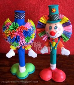 ronycreativa: PAYASO DE FOMI Kokeshi Dolls, Make And Sell, Birthday Candles, Art Drawings, Crafts For Kids, Balloons, Mandala, Diy, Iran