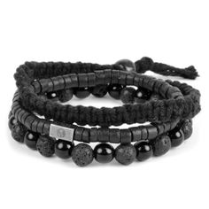 * Lucleon bracelet set * Consists of three bracelets * Fits most Black Leather Bracelet, Black Bracelets, Bracelets For Men, Jewelry For Men, Leather Bracelets, Men's Leather, Gold Jewelry, Bracelet Cuir, Bracelet Set