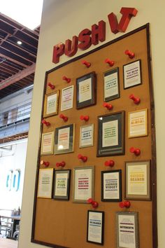 """A """"Push It"""" achievement wall. 43 Ways Pinterest's Office Is The DIY Paradise You'd Expect"""