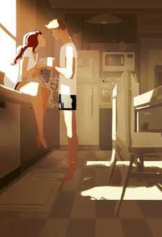 Pascal Campion is a French-American illustrator and animator living in San Francisco. Since 2006 he's been creating a sketch a day, everyday Monday through Friday. Pascal Campion, Foto Portrait, Love Illustration, Digital Illustration, Couple Art, Love Art, Illustrators, Chibi, Concept Art