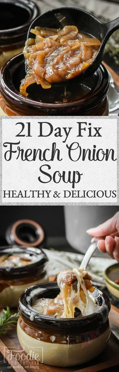 This healthy 21 Day Fix French Onion soup is rich silky and basically the best thing onions have ever turned into. A delicious soup that's an impressive company dinner or a special family meal. Healthy Soup Recipes, Cooking Recipes, Beef Recipes, Fixate Recipes, Recipies, Chilli Recipes, Family Recipes, Lunch Recipes, Dinner Recipes