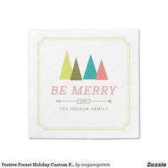 Festive Forest Holiday Custom Paper Napkins