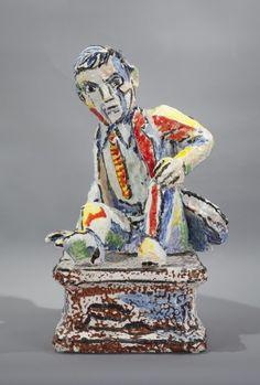 "Viola Frey, ceramics ""Figure Study F (Fallen Man)"", 1996"