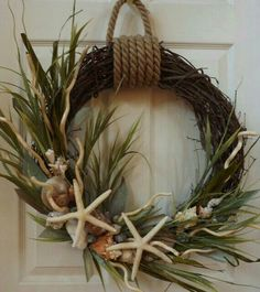 pin lime beach coastal door seaweed burlap hydrangea wreath turquoise doors seaside daisy wreaths