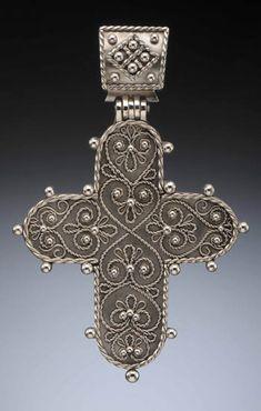 """Claudia Rush. Russian Cross Pendant in argentium silver filigree and granulation argentium. 4 x 2 3/4""""."""