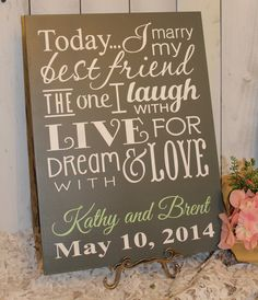 Today I Marry My Best Friend Sign/Wedding by gingerbreadromantic