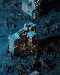 A Distant Dwelling 👩🚀 Isometric Art, Isometric Design, 3d Pixel, Pixel Art, Pinup, Cyberpunk City, House Of Beauty, Modelos 3d, Environment Concept Art