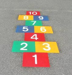 "Hopscotch is a great outside game. You simply draw the hopscotch ""board"" on the ground with chalk, gather a stone per person and start playing. There are multiple variations on hopscot…"