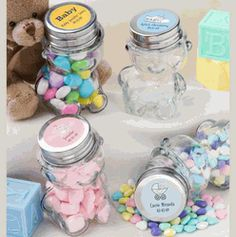 Personalized Teddy Bear Baby Shower Jars (234 Designs & 32 Colors) - $1.09