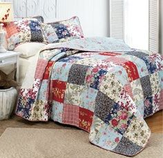 Shabby 5pc King Bedding Quilt Set Heirloom French Country Cottage Patchwork Chic