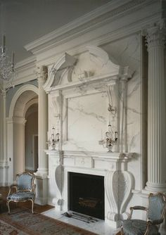 Highland Park House, Dallas, USA by Quinlan and Francis Terry LLP Architects - Detail of Fireplace New Classical Architecture, Classical Interior Design, Vintage Architecture, Classic Interior, Luxury Interior, Architecture Details, Fireplace Facade, Fireplace Surrounds, Fireplace Mantels