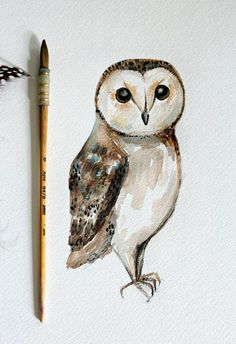 Easy watercolor paintings for beginners. a simple watercolor tutorial for painting a barn owl Watercolor Paintings For Beginners, Watercolour Tutorials, Painting Tutorials, Watercolor Art Diy, Watercolor Animals, Watercolor Artists, Arte Fashion, Owl Art, Painting & Drawing
