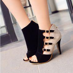 Flock Colored High Heel Sandals