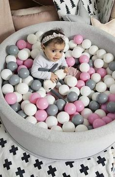 Make any nursery, kids room or playroom that extra special with our high quality, unique and modern ball pits from Mini Be! Contemporary Nursery Decor, Nursery Modern, Ball Pit Pink, Gray Playroom, Playroom Ideas, 1st Birthday Party For Girls, Birthday Ideas, Pink Grey, Bright Pink