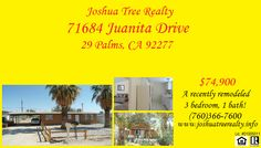 Joshua Tree Realty wants to show you this property today! Call us at (760)366-7600! www.joshuatreerealty.info