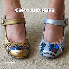 Star Wars C3PO and R2D2 Painted Shoes!